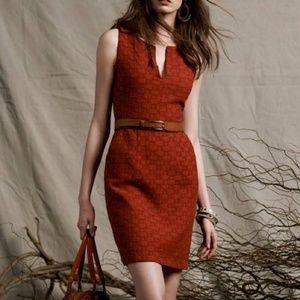 Anthro Tabitha Orange Tema Quilted Sheath Dress 12